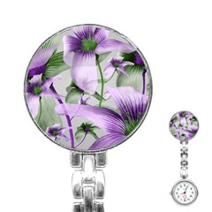 Lilies Collage Art In Green And Violet Colors Stainless Steel Nurses Watch by dflcprints