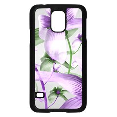 Lilies Collage Art In Green And Violet Colors Samsung Galaxy S5 Case (black) by dflcprints