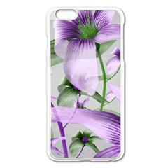 Lilies Collage Art In Green And Violet Colors Apple Iphone 6 Plus Enamel White Case by dflcprints