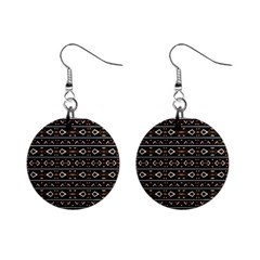 Tribal Dark Geometric Pattern03 Mini Button Earrings by dflcprints