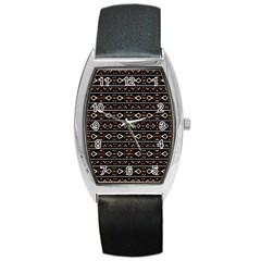 Tribal Dark Geometric Pattern03 Tonneau Leather Watch by dflcprints