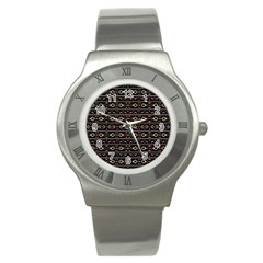 Tribal Dark Geometric Pattern03 Stainless Steel Watch (slim) by dflcprints