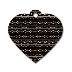 Tribal Dark Geometric Pattern03 Dog Tag Heart (one Sided)  by dflcprints