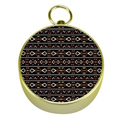 Tribal Dark Geometric Pattern03 Gold Compass by dflcprints
