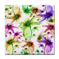 Multicolored Floral Print Pattern Ceramic Tile by dflcprints
