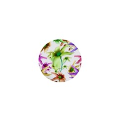 Multicolored Floral Print Pattern 1  Mini Button by dflcprints