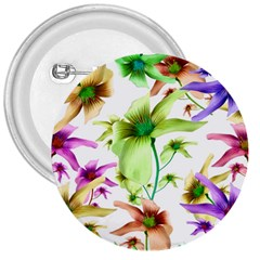 Multicolored Floral Print Pattern 3  Button by dflcprints