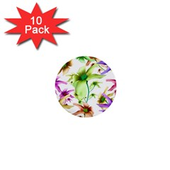 Multicolored Floral Print Pattern 1  Mini Button (10 Pack) by dflcprints