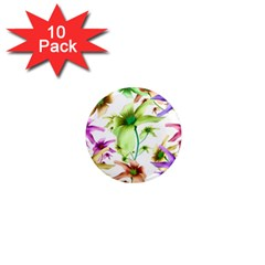 Multicolored Floral Print Pattern 1  Mini Button Magnet (10 Pack) by dflcprints