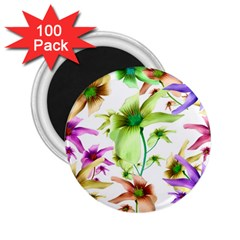 Multicolored Floral Print Pattern 2 25  Button Magnet (100 Pack) by dflcprints