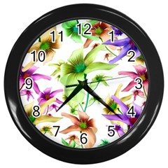 Multicolored Floral Print Pattern Wall Clock (black) by dflcprints