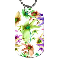 Multicolored Floral Print Pattern Dog Tag (Two-sided)  by dflcprints