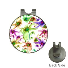 Multicolored Floral Print Pattern Hat Clip With Golf Ball Marker by dflcprints