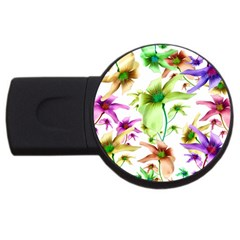 Multicolored Floral Print Pattern 4gb Usb Flash Drive (round) by dflcprints