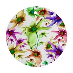 Multicolored Floral Print Pattern Round Ornament (two Sides) by dflcprints