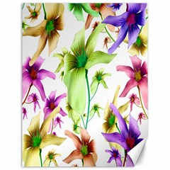 Multicolored Floral Print Pattern Canvas 12  X 16  (unframed) by dflcprints