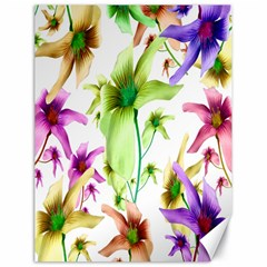 Multicolored Floral Print Pattern Canvas 18  X 24  (unframed) by dflcprints