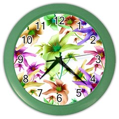 Multicolored Floral Print Pattern Wall Clock (color) by dflcprints