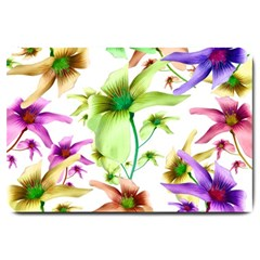 Multicolored Floral Print Pattern Large Door Mat by dflcprints