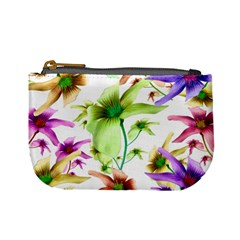 Multicolored Floral Print Pattern Coin Change Purse by dflcprints