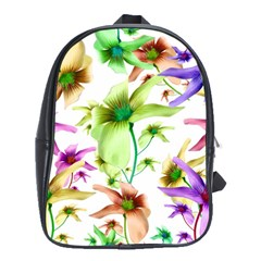 Multicolored Floral Print Pattern School Bag (large) by dflcprints