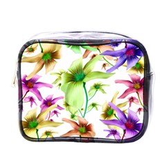 Multicolored Floral Print Pattern Mini Travel Toiletry Bag (one Side) by dflcprints