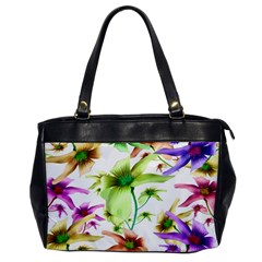 Multicolored Floral Print Pattern Oversize Office Handbag (one Side) by dflcprints