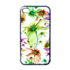 Multicolored Floral Print Pattern Apple Iphone 4 Case (black) by dflcprints