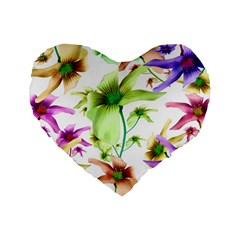 Multicolored Floral Print Pattern 16  Premium Heart Shape Cushion  by dflcprints