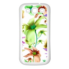 Multicolored Floral Print Pattern Samsung Galaxy S3 Back Case (white) by dflcprints