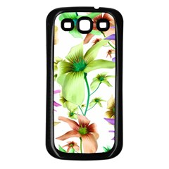 Multicolored Floral Print Pattern Samsung Galaxy S3 Back Case (black) by dflcprints