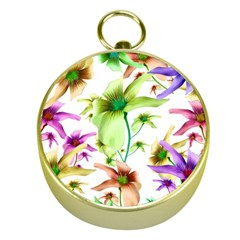 Multicolored Floral Print Pattern Gold Compass by dflcprints