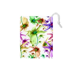 Multicolored Floral Print Pattern Drawstring Pouch (small) by dflcprints