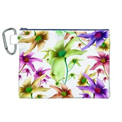 Multicolored Floral Print Pattern Canvas Cosmetic Bag (xl) by dflcprints