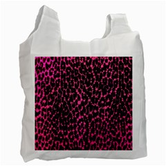 Hot Pink Leopard Print  White Reusable Bag (one Side) by OCDesignss