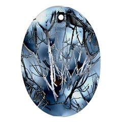 Abstract Of Frozen Bush Oval Ornament