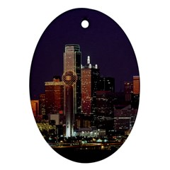 Dallas Skyline At Night Oval Ornament by StuffOrSomething