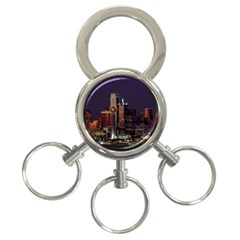 Dallas Skyline At Night 3 Ring Key Chain by StuffOrSomething