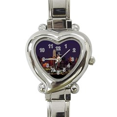 Dallas Skyline At Night Heart Italian Charm Watch  by StuffOrSomething