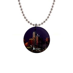 Dallas Skyline At Night Button Necklace by StuffOrSomething