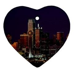 Dallas Skyline At Night Heart Ornament (two Sides) by StuffOrSomething