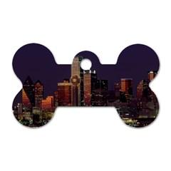 Dallas Skyline At Night Dog Tag Bone (two Sided)