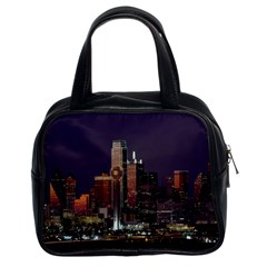 Dallas Skyline At Night Classic Handbag (two Sides) by StuffOrSomething