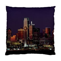 Dallas Skyline At Night Cushion Case (two Sided)  by StuffOrSomething