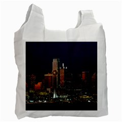 Dallas Skyline At Night White Reusable Bag (one Side) by StuffOrSomething