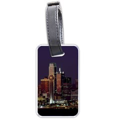Dallas Skyline At Night Luggage Tag (two Sides) by StuffOrSomething