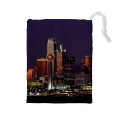 Dallas Skyline At Night Drawstring Pouch (large) by StuffOrSomething