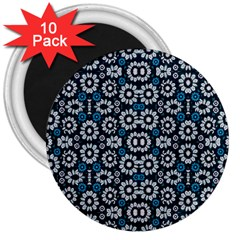 Floral Print Seamless Pattern In Cold Tones  3  Button Magnet (10 Pack) by dflcprints