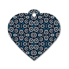 Floral Print Seamless Pattern In Cold Tones  Dog Tag Heart (one Sided)  by dflcprints