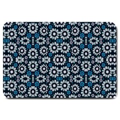 Floral Print Seamless Pattern In Cold Tones  Large Door Mat by dflcprints